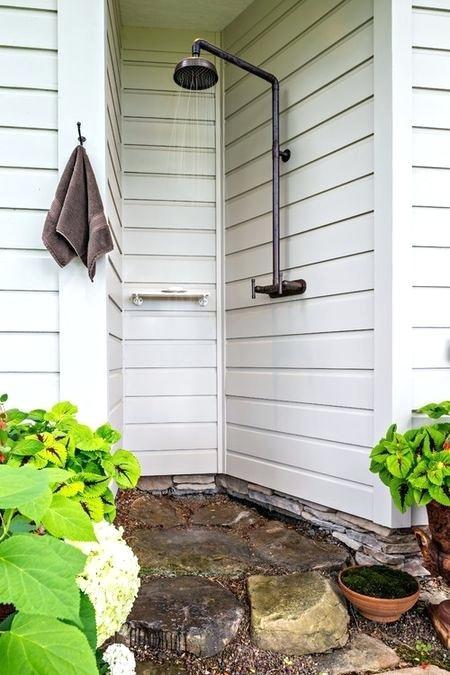 Poolside outdoor rustic shower