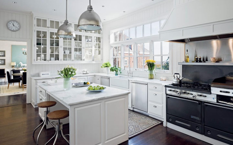 white cabinets with granite backsplash ideas