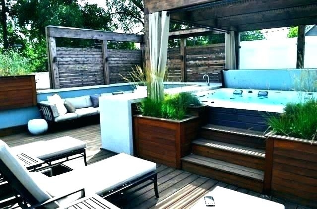 hot tub design ideas backyard patio deck designs plans with in ground spa