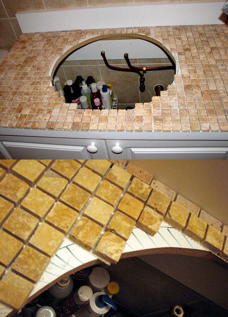 tile behind bathroom vanity powder room ideas