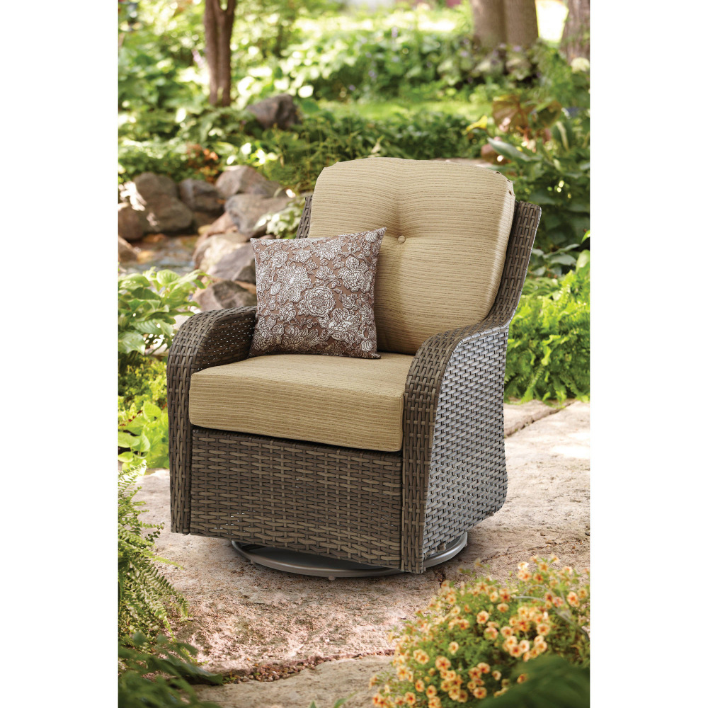 Garden Treasures Elliot Creek Set Of 2 Steel Motion Conversation Chairs  With Gray Cushions 790