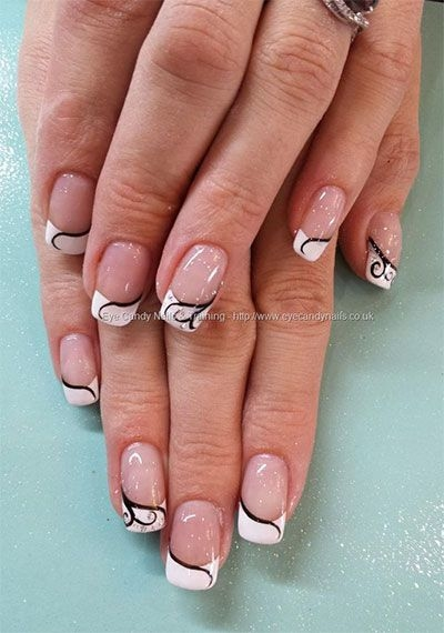 french nail art design, COLORFUL  alternative french