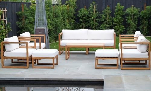 7 pc Chatsworth Sofa Teak Deep Seating with Coffee Table