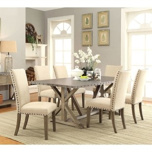 2m Ext Table With Regent Beige Knockerback Wing Dining Chairs