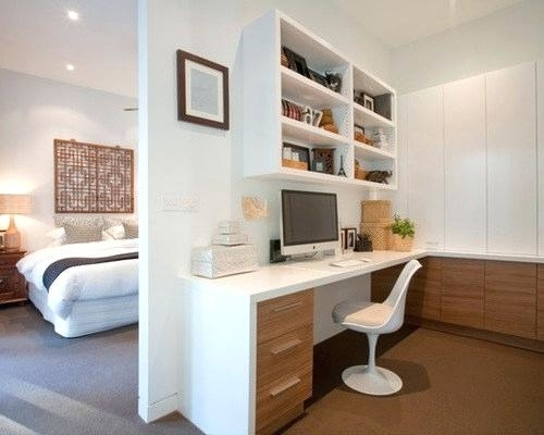 Traditional home office turned into a gorgeous guestroom [Design: Robert Frank / Carolyn Reyes