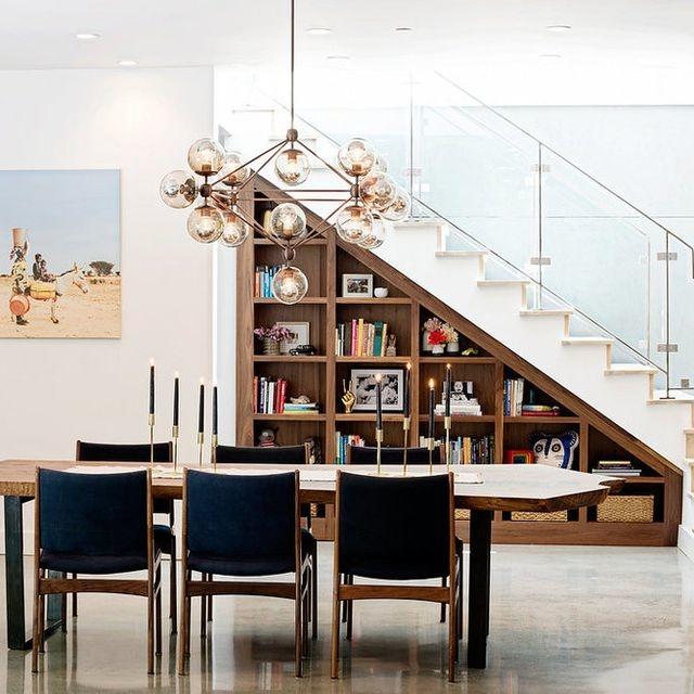 built in bookshelves dining room