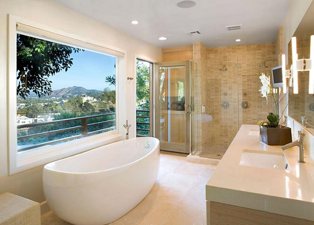 Example of a large trendy master white tile and subway tile marble floor and gray floor