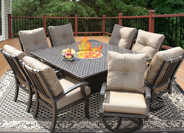 com: Augusta Patio Furniture ~ 5 Piece Outdoor Wicker Swivel Rocker and Propane (Gas) Fire Table (Pit) Set: Garden & Outdoor