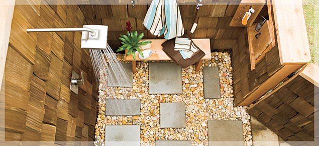 Apartments Amazing Small Outdoor Shower Area With Brick Stone