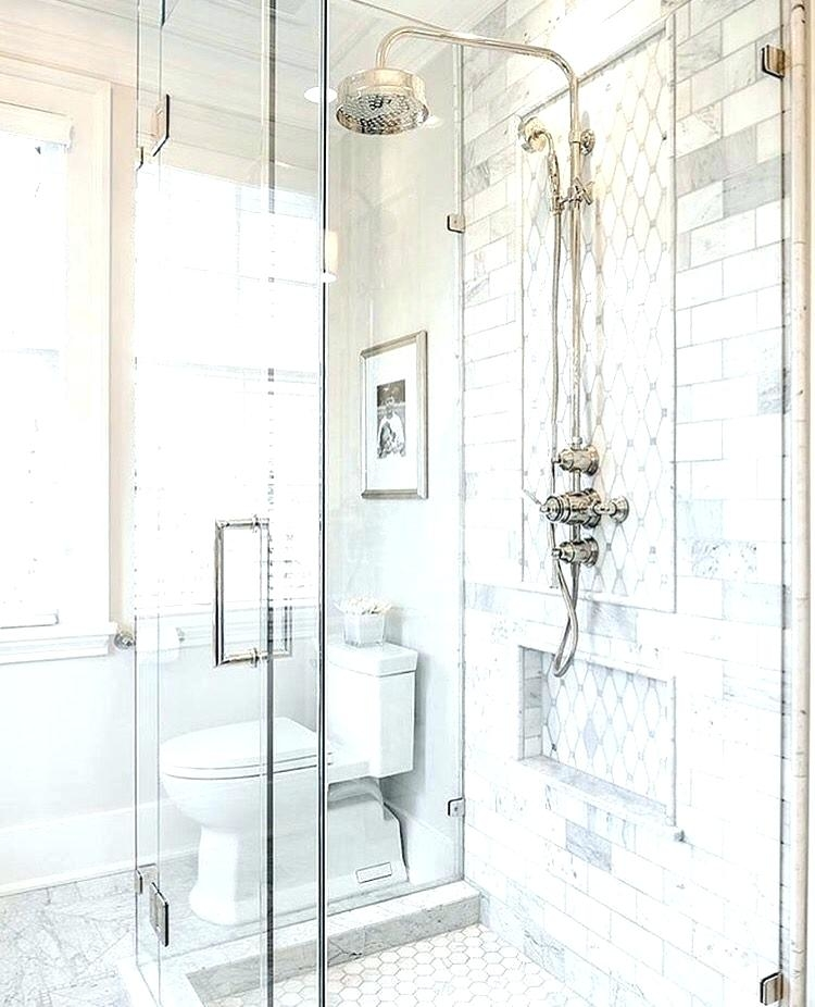 Traditional master bathroom ideas Hgtv Double Shower Large Traditional  Master White Tile And Subway Tile Ceramic Floor And Multicolored Floor Houzz  75 Most