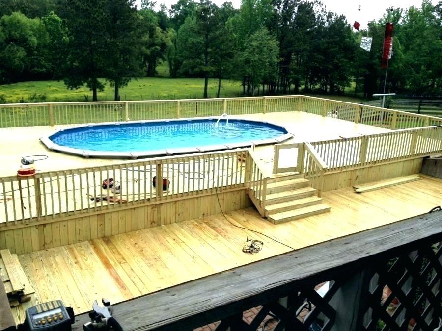 semi inground pool ideas deck