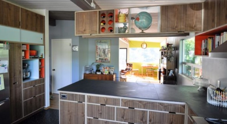 Retro Kitchen Decoration With Marble Table Top Combined Homestead  Reclaimed Cabinet And Stainless Stove
