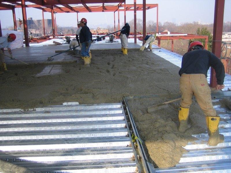 A reinforced concrete deck  rests on 6