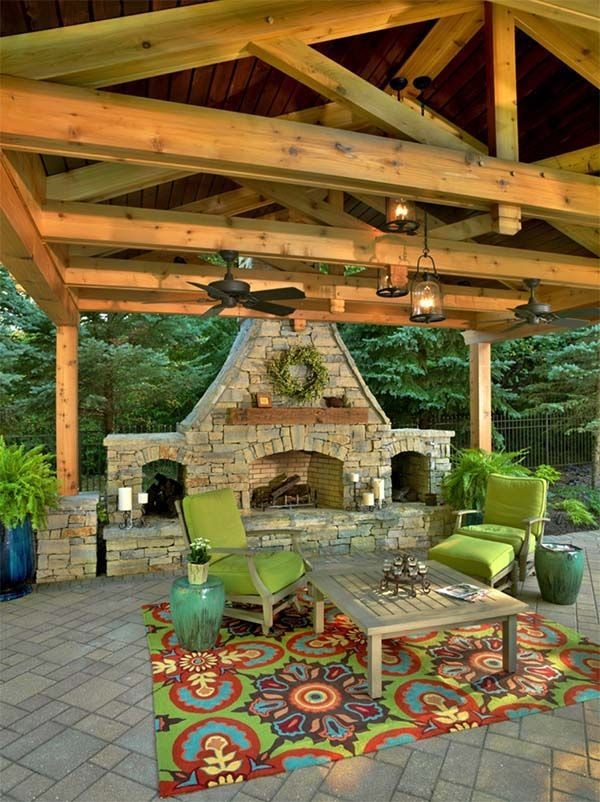 outdoor living spaces with fireplace