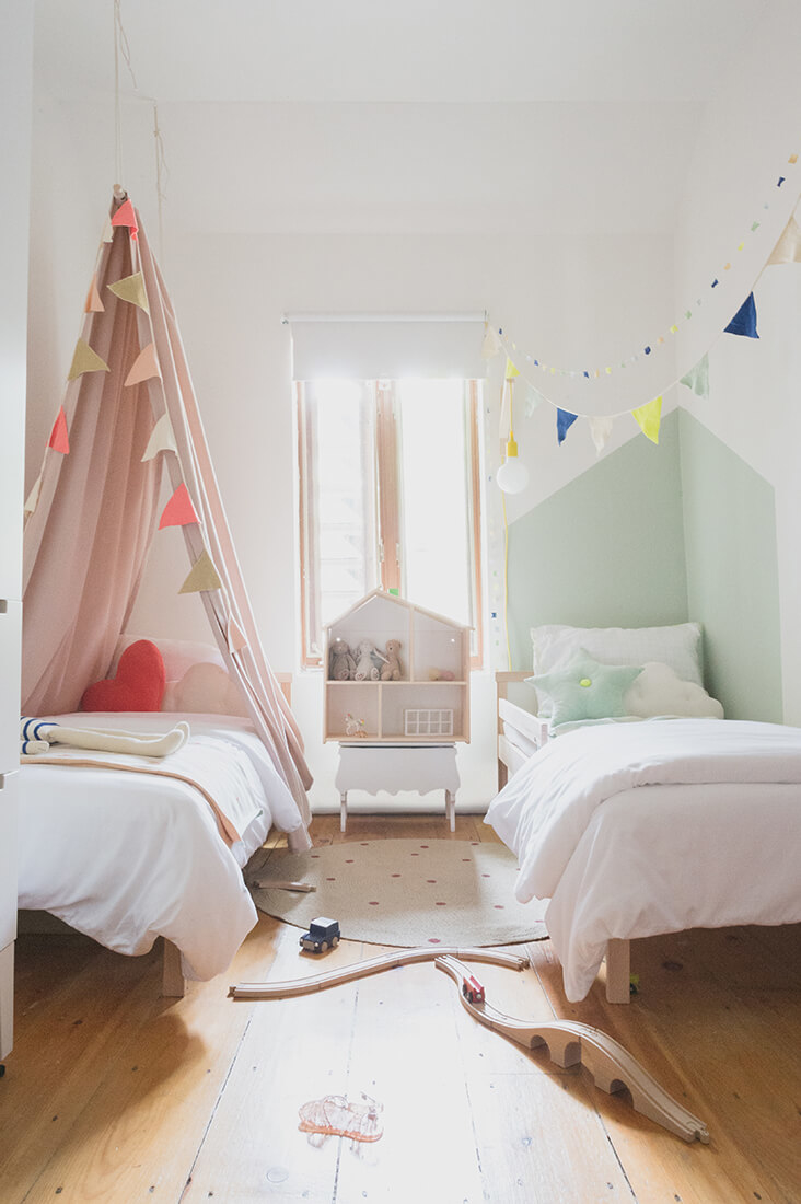Shared girls bedroom with individual styling for each girl