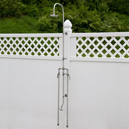 outdoor shower is a wall mount with integrated foot wash washer