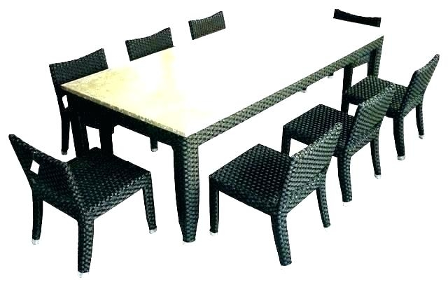 Patio dining set 8 person Palm Tree chairs with Nassau rectangular table