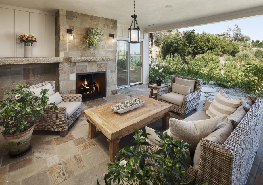 rustic outdoor  covered patios patio with fireplace
