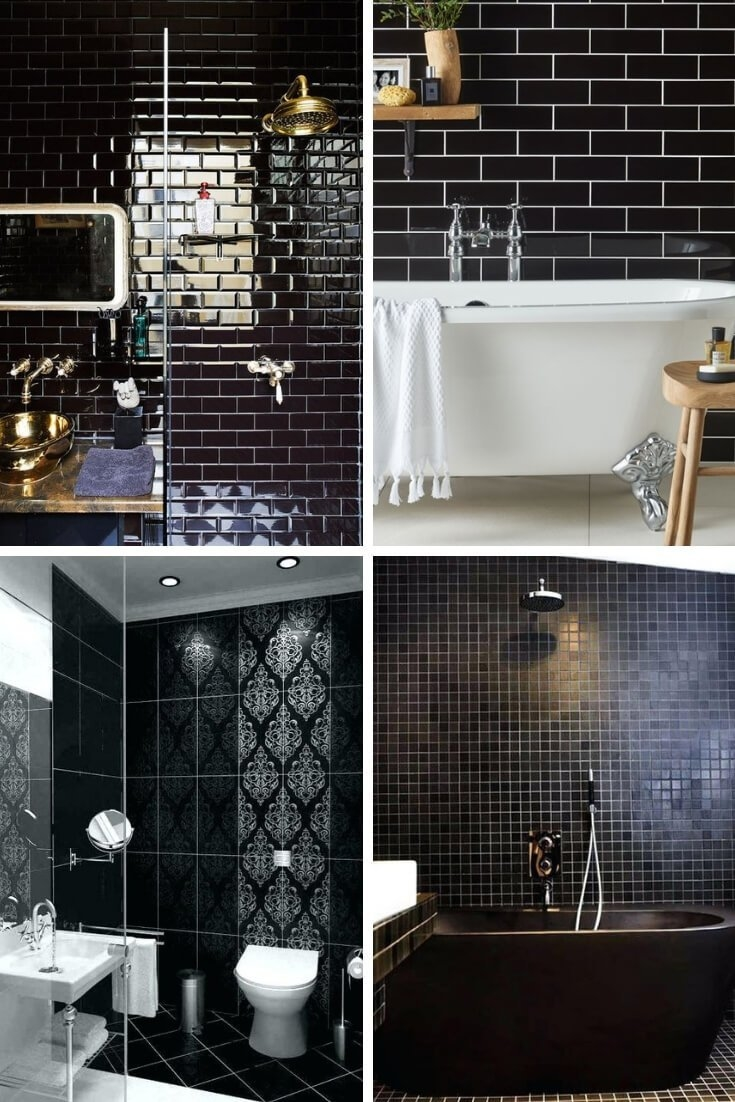 small bathroom black tiles