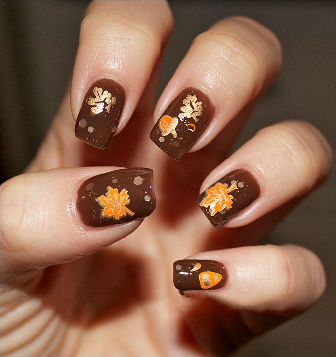 beautiful fall gel nail