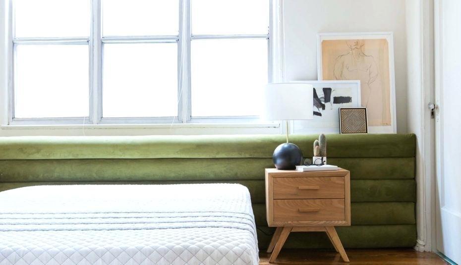 wood and metal bedroom