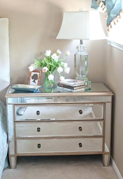 rustic mirrored nightstand
